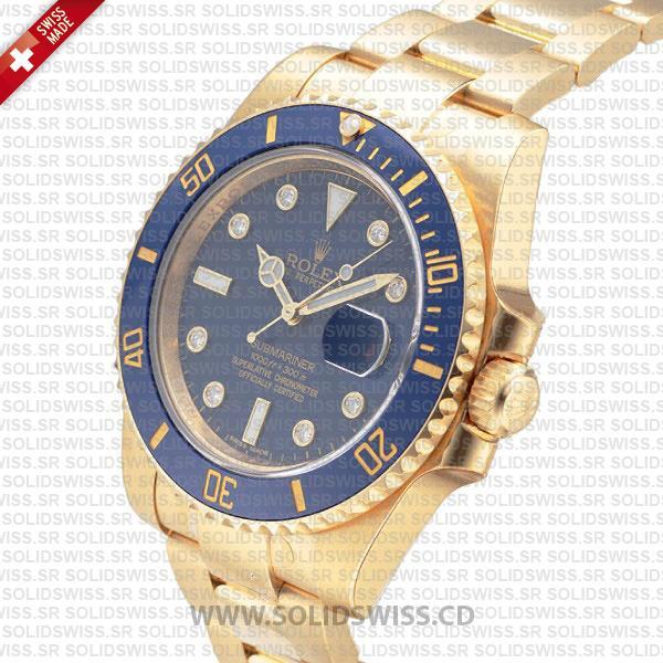 Rolex Submariner 18k Yellow Gold Blue Diamonds | Solidswiss