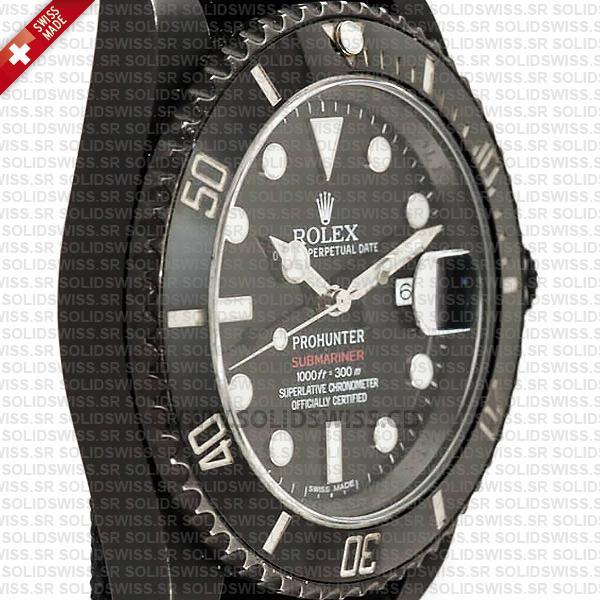 Rolex Submariner Prohunter Date DLC Black Ceramic Bezel Swiss Replica
