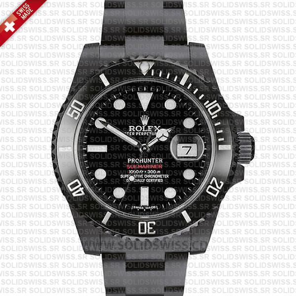 Rolex Submariner Prohunter Date DLC Black Ceramic Bezel Swiss Replica