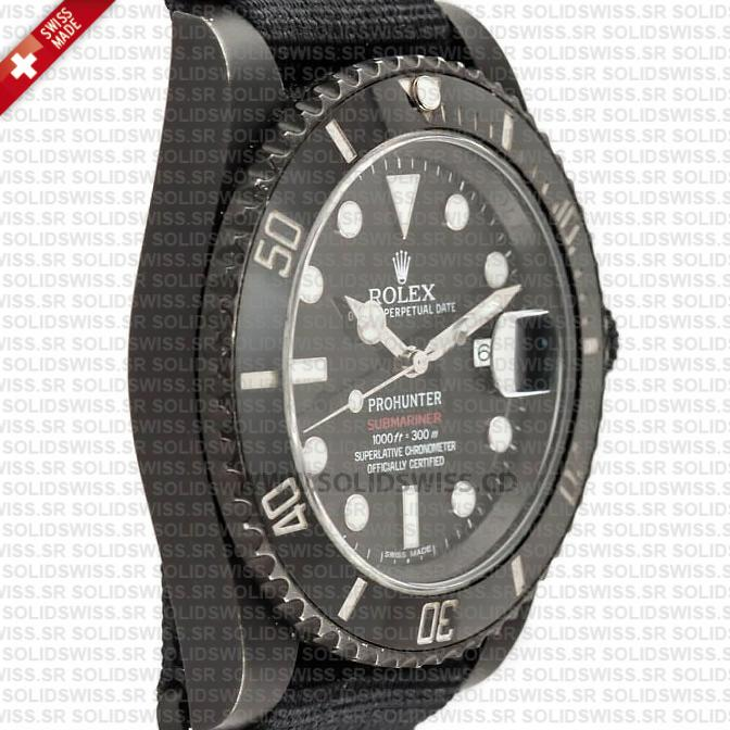 Rolex Submariner NATO Prohunter Date DLC Black Ceramic Bezel Swiss Replica