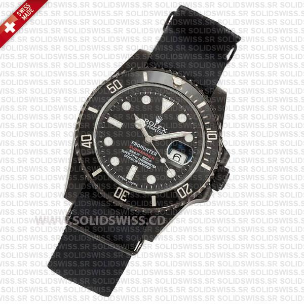Rolex Submariner NATO Prohunter Date DLC Black Ceramic Bezel Swiss Replica Watch