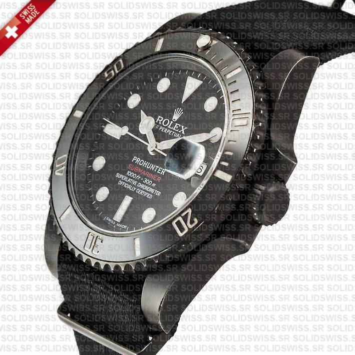Rolex Submariner NATO Prohunter Date DLC Black Ceramic Bezel Swiss Replica