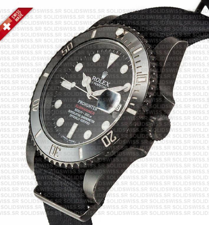 Pro Hunter Rolex Submariner NATO Date | Black Ceramic Bezel Swiss Replica