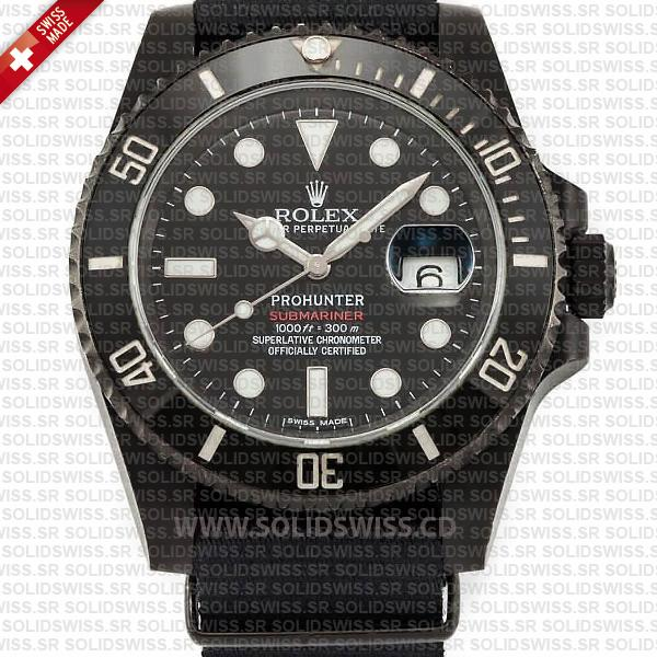 Rolex Submariner NATO Prohunter Date DLC Black Ceramic Bezel