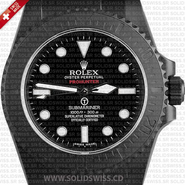 Rolex Submariner Prohunter No-Date DLC Black Ceramic Bezel Swiss Replica