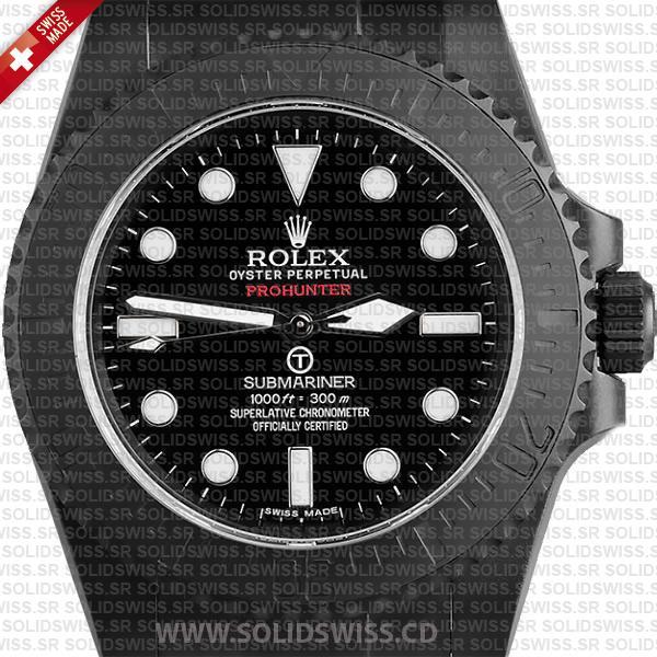 Rolex Submariner Prohunter No-Date DLC Black Ceramic Bezel Swiss Replica