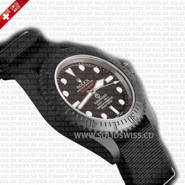 Rolex Submariner NATO Prohunter No-Date DLC Black Ceramic Bezel Swiss Replica