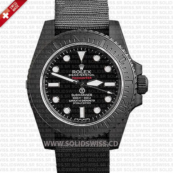 Rolex Submariner NATO Prohunter No-Date DLC Black Ceramic Bezel Swiss Replica