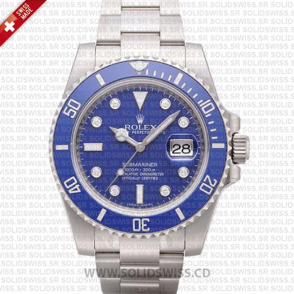 Rolex Submariner SS Blue Diamonds Ceramic