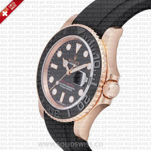 Rolex Yacht-Master Rose Gold Black Dial Replica Watch
