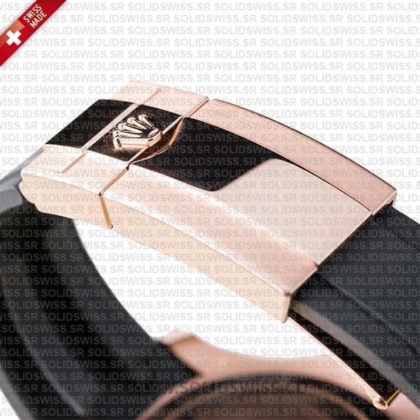 Rolex Yacht-Master 18k Rose Gold Stainless Steel Black Ceramic Rubber Strap