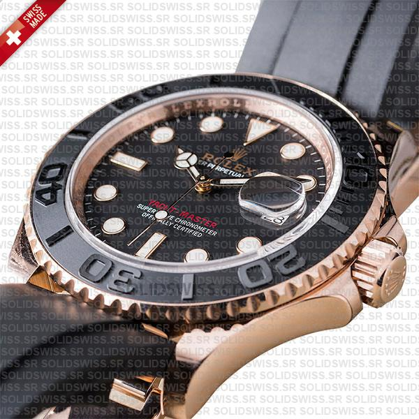 Rolex Yacht-Master Rose Gold Black Dial 40mm Rubber Strap