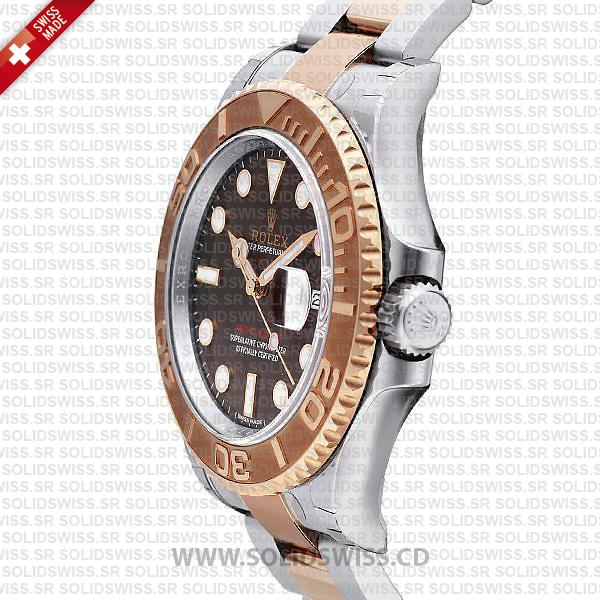 Rolex Yacht-Master 2016 Rose Gold 2-Tone Chocolate 40mm Solidswiss Swiss Replica 3135