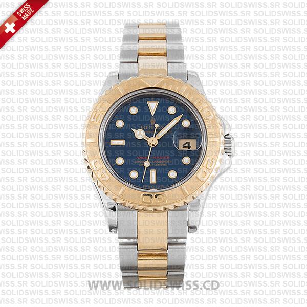 Rolex Yacht-Master 29mm 18k Yellow Gold / Steel 2 Tone Blue Dial Swiss Replica