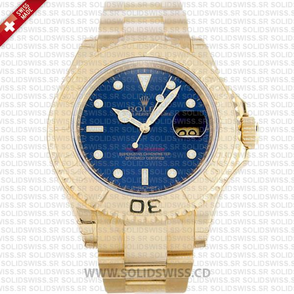 Rolex Yacht-Master Gold Blue Dial 40mm Watch | Swiss Replica