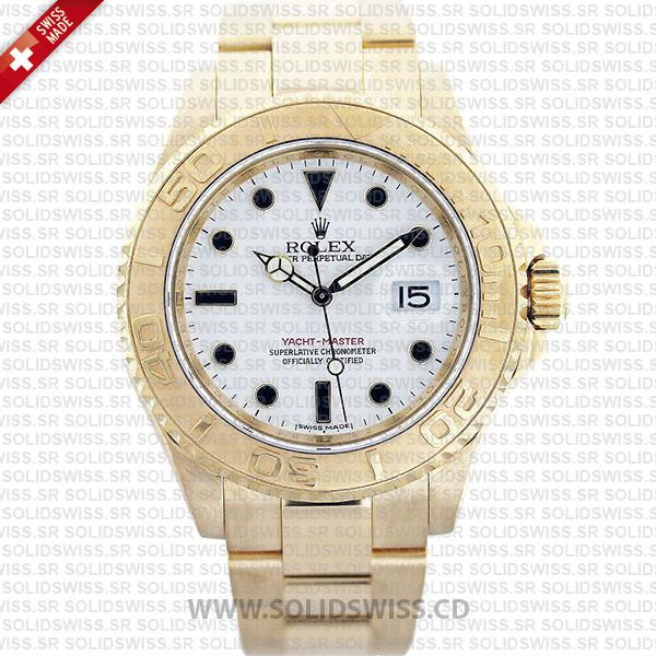 Rolex Yacht-Master 18k Yellow Gold White Dial 40mm Watch