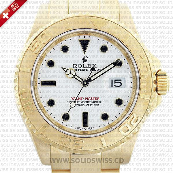 Rolex Yacht-Master 18k Yellow Gold White Dial 40mm Replica