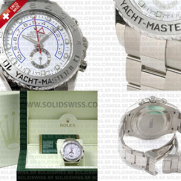 Rolex Yacht-Master II 18k White Gold Stainless Steel White Dial 44mm