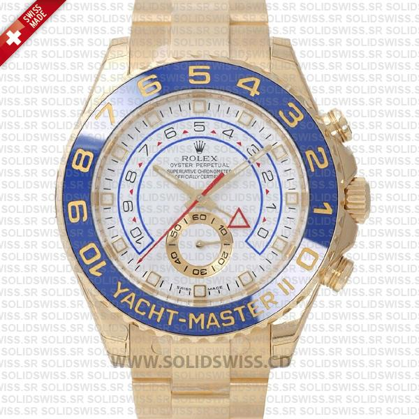 Rolex Yacht-Master II Gold White Dial 44mm | Solidswiss Watch