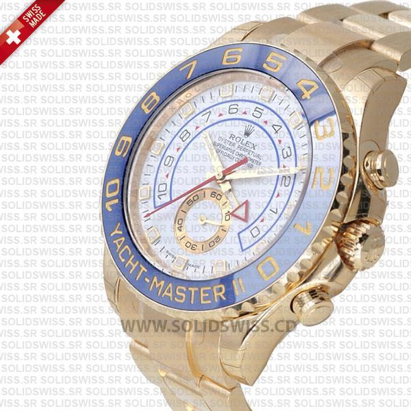 Rolex Yacht-Master II Gold White Dial 44mm Watch