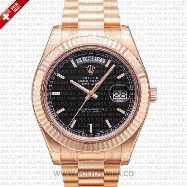 Rolex Day-Date II Rose Gold 41mm | Black Dial Replica Watch