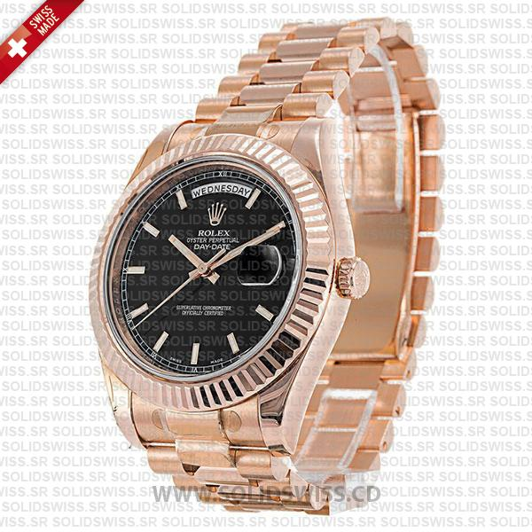 ROLEX DAY-DATE II ROSE GOLD BLACK STICKS 41mm