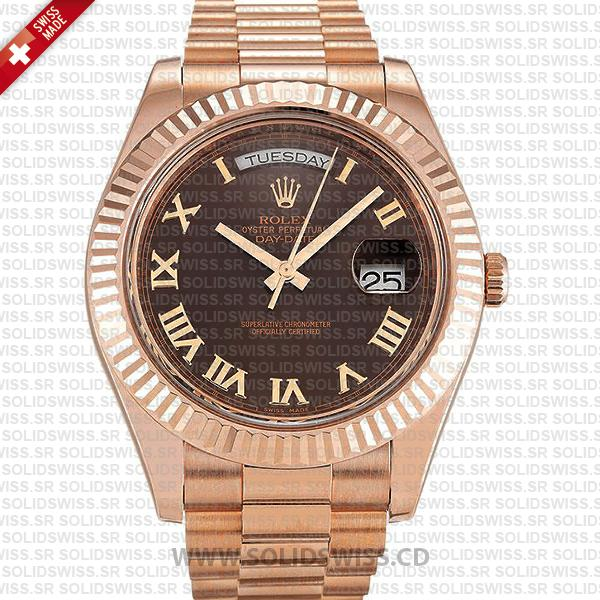 Rolex Day-Date II Rose Gold Chocolate Roman Dial | Solidswiss