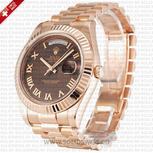 Rolex Day-Date II Rose Gold Chocolate Roman Dial