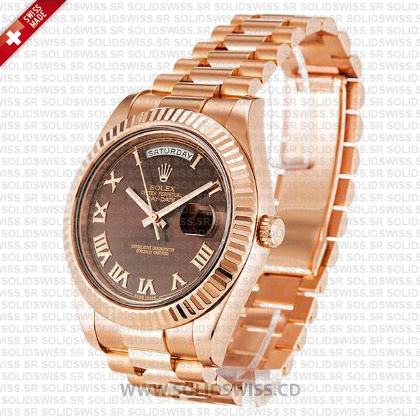 ROLEX DAY-DATE II ROSE GOLD CHOCOLATE ROMAN 41mm