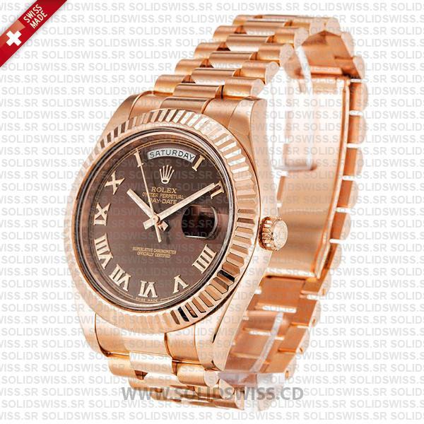 Rolex Day-Date II Rose Gold 41mm Chocolate Roman Dial
