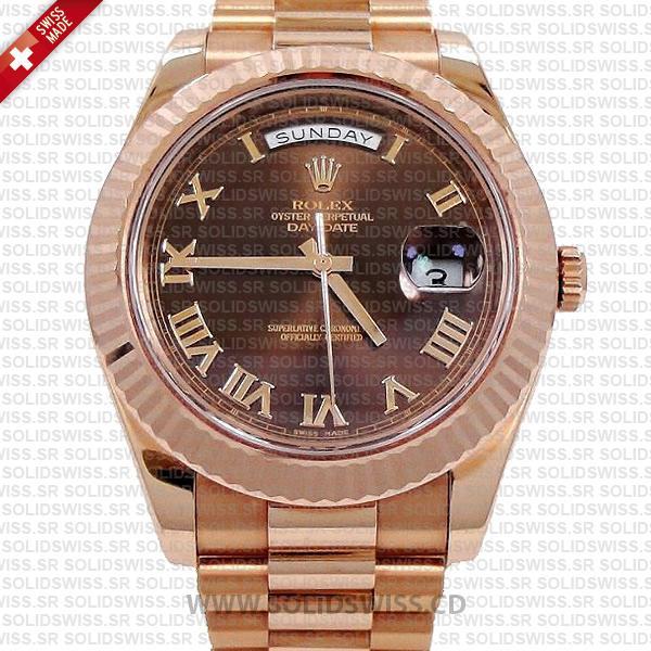 Rolex Day-Date II Rose Gold Chocolate Roman Dial Watch