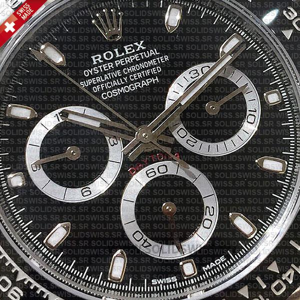 ROLEX 2016 DAYTONA SS BLACK CERAMIC BEZEL 116520 40mm Solidswiss Replica
