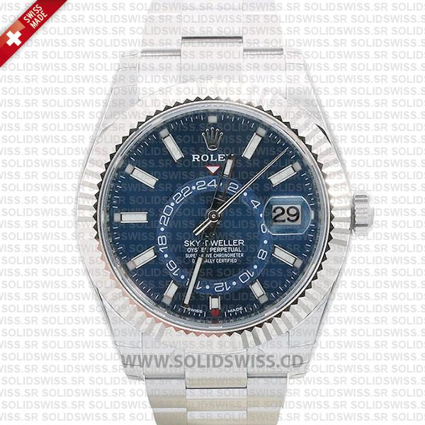 Rolex Sky-Dweller 2-Tone 18K White Gold Blue Dial 42mm Swiss Replica