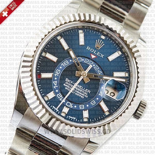 Rolex Sky-Dweller 18k White Gold Blue Dial Replica Watch