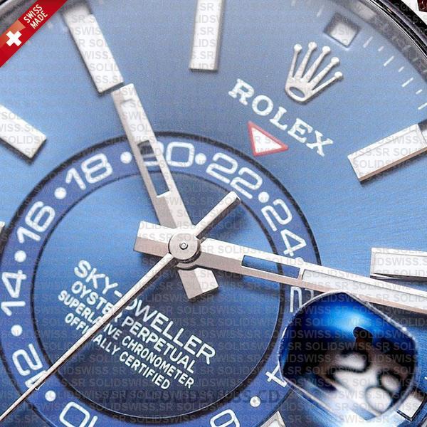 Rolex Sky-Dweller 2-Tone 18K White Gold Blue Dial 42mm Swiss Replica