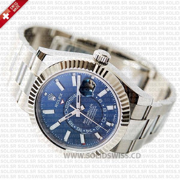 Rolex Sky-Dweller 18k White Gold Blue Dial Fluted Bezel