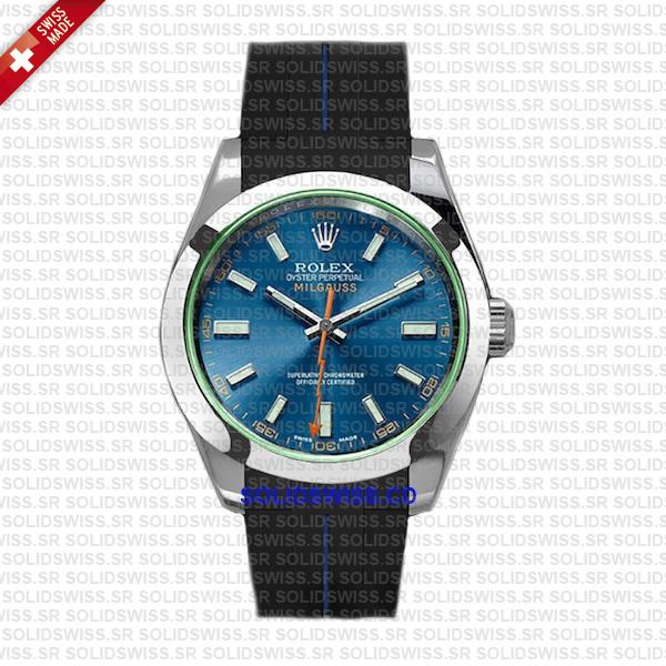 Solidswiss.cd Dual Colored Rolex Rubber Strap Complete With 904L Stainless Steel Tang Buckle