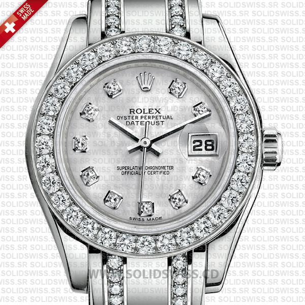 Rolex Datejust Pearlmaster 29mm White Gold Diamonds Watch