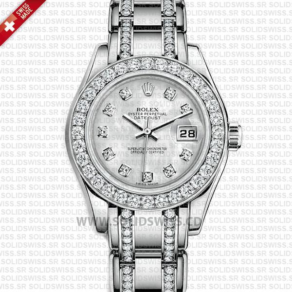 Rolex Pearlmaster 29mm 18k White Gold White Mother of Pearl Dial Diamond Markers/Bezel/Bracelet