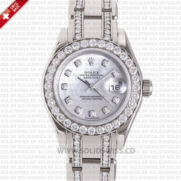 Rolex Pearlmaster 29mm 18k White Gold White Mother of Pearl Dial Diamond Markers/Bezel/Bracelet
