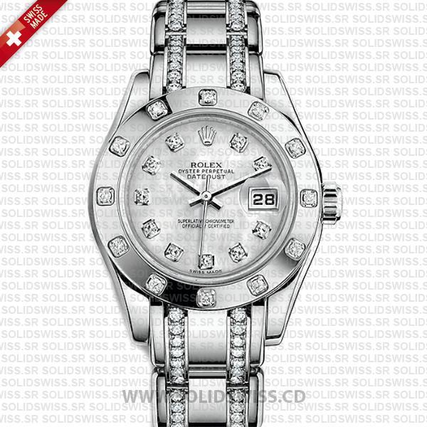 Rolex Lady Datejust Pearlmaster 18k White Gold 904L Steel Diamonds Bracelet 29mm Watch