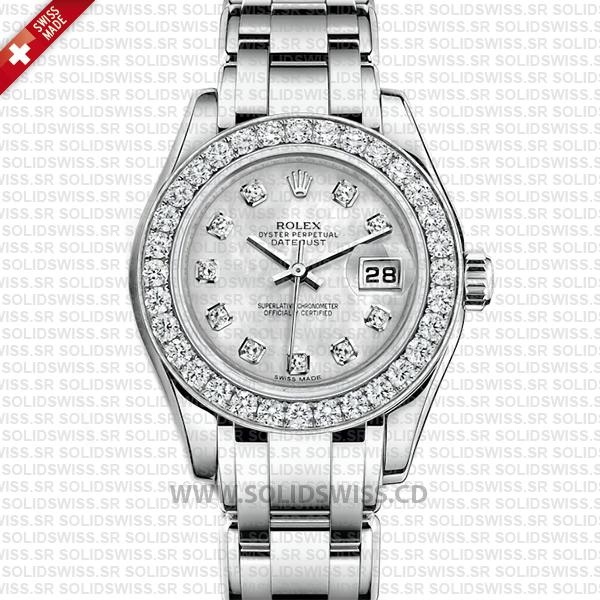 Rolex Lady Datejust Pearlmaster 18k White Gold 29mm Watch