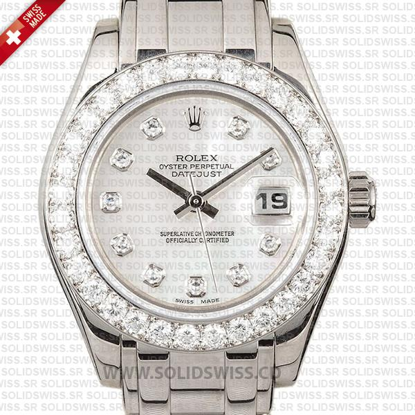 Rolex Lady Datejust Pearlmaster White Gold Replica