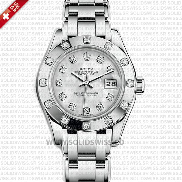 Rolex Pearlmaster 29mm 18k White Gold White Mother of Pearl Dial Diamond Markers/Bezel Swiss Replica