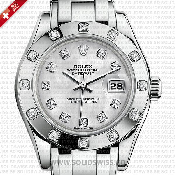 Rolex Lady Datejust Pearlmaster 29mm White Gold Watch in White Diamond Dial