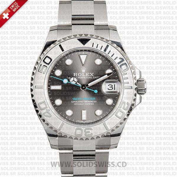 Rolex Yacht-Master Platinum Bezel Rhodium Dial 37mm Watch