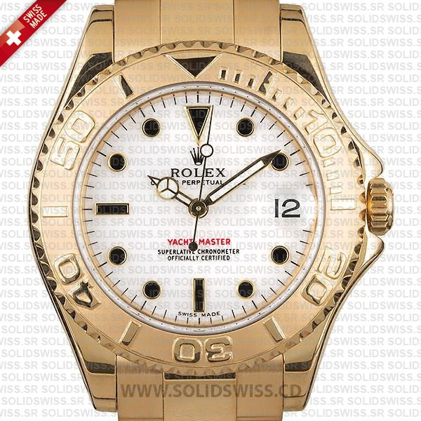 Rolex Yacht-Master 35mm 18k Yellow Gold White Dial