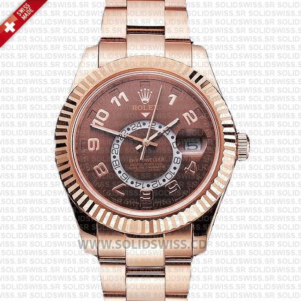 Rolex Sky-Dweller Rose Gold Chocolate Dial 42mm Replica