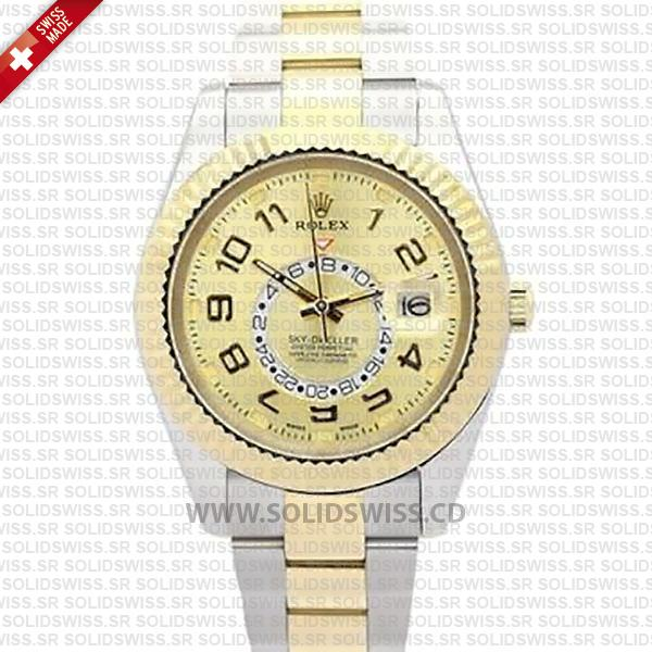 Rolex Sky-Dweller 2-Tone 18K Yellow Gold Arabic Markers Gold Dial 42mm