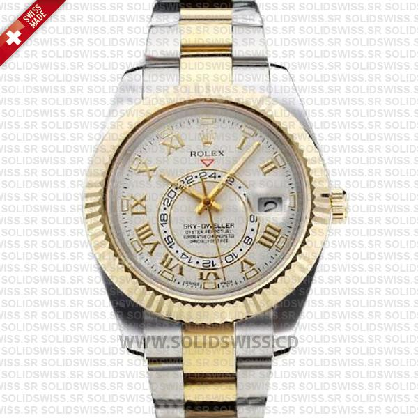Rolex Sky-Dweller 2-Tone 18K Yellow Gold Roman Markers White Dial 42mm